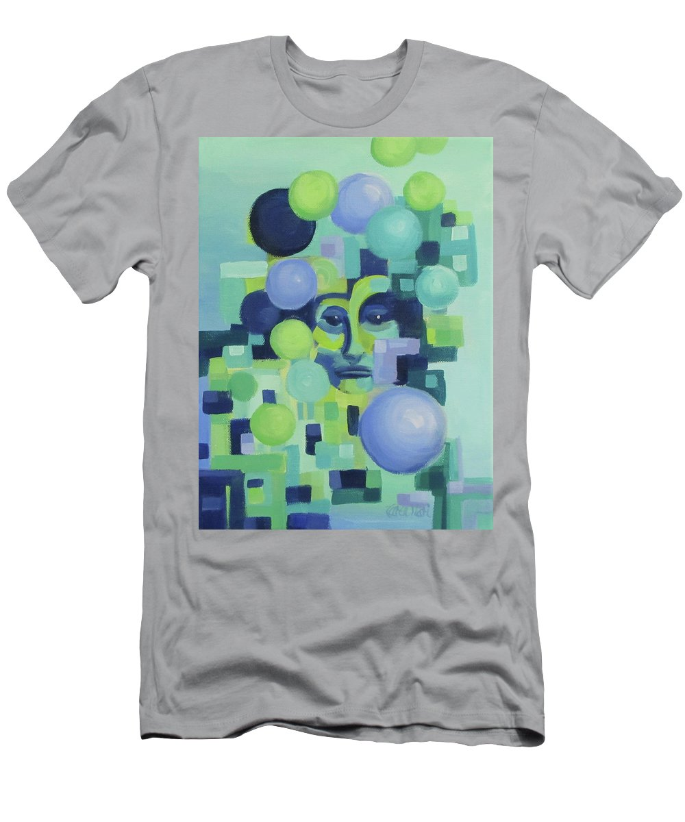 Blue T-Shirt featuring the painting Ebbs by Karen Ilari