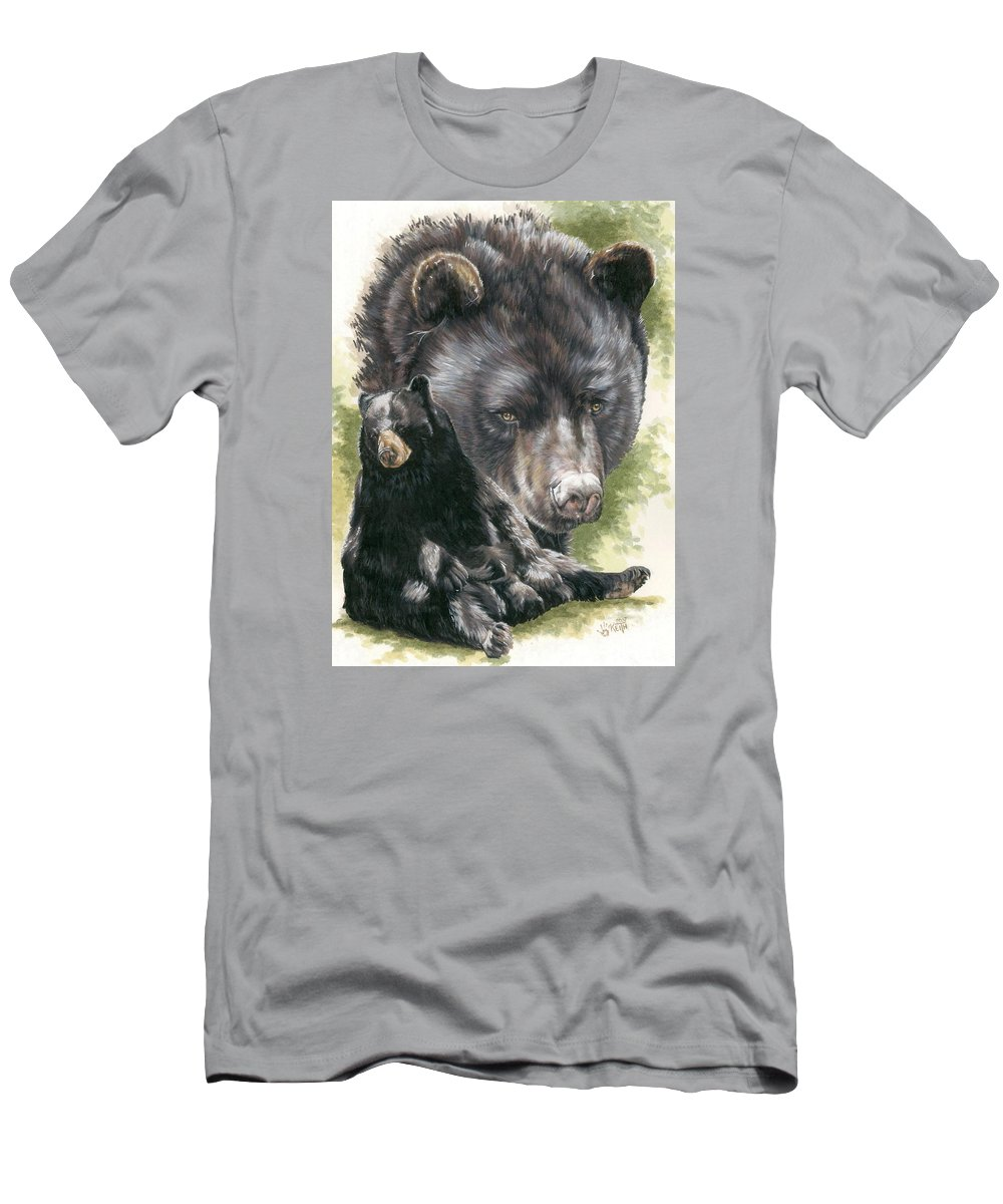 Black Bear Men's T-Shirt (Athletic Fit) featuring the mixed media Ebony by Barbara Keith
