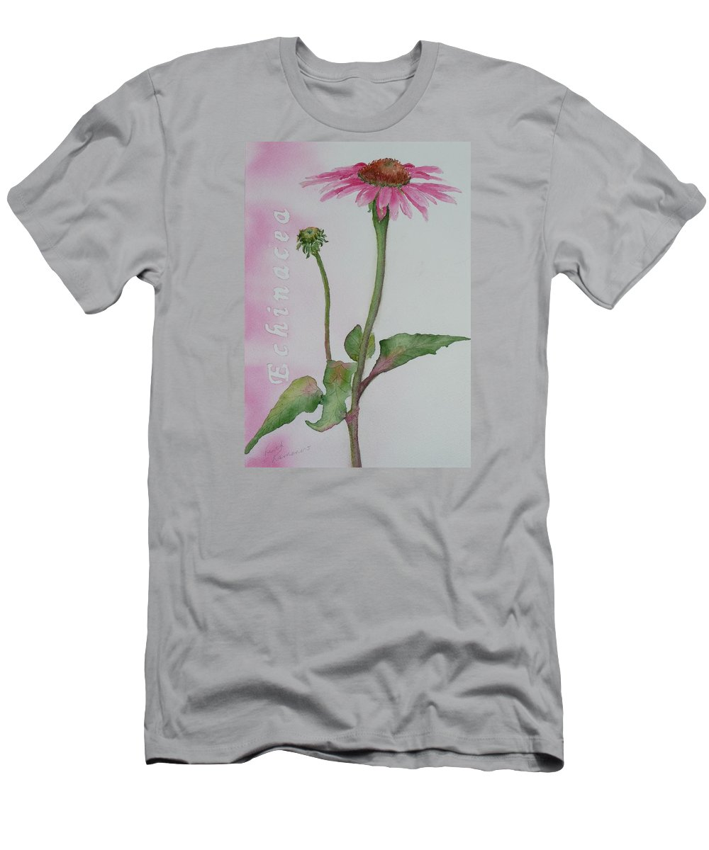 Flower Men's T-Shirt (Athletic Fit) featuring the painting Echinacea by Ruth Kamenev
