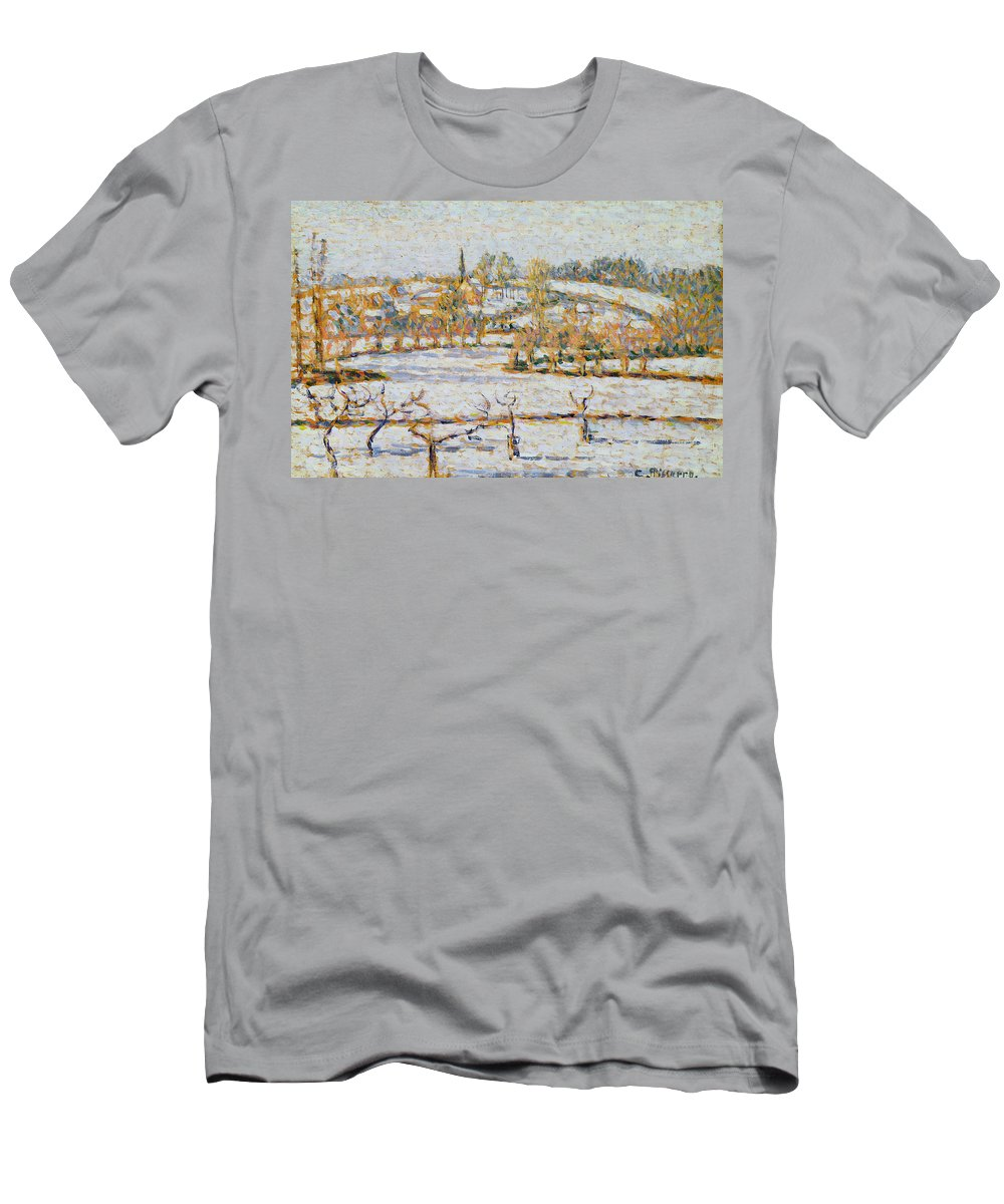 Effect Men's T-Shirt (Athletic Fit) featuring the painting Effect Of Snow At Eragny by Camille Pissarro