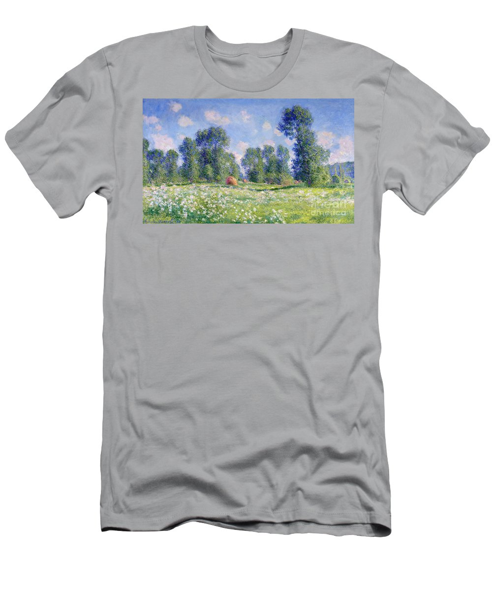 Effect Of Spring Men's T-Shirt (Athletic Fit) featuring the painting Effect Of Spring At Giverny by Claude Monet