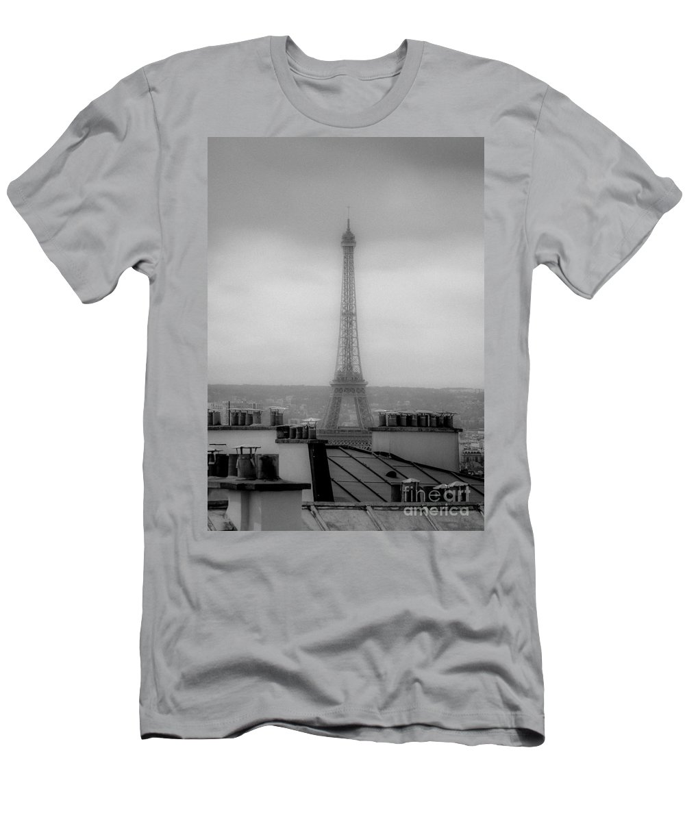 Eiffel Tower Men's T-Shirt (Athletic Fit) featuring the photograph Eiffel Tower And Rooftops, Paris by Bailey Cooper Photography