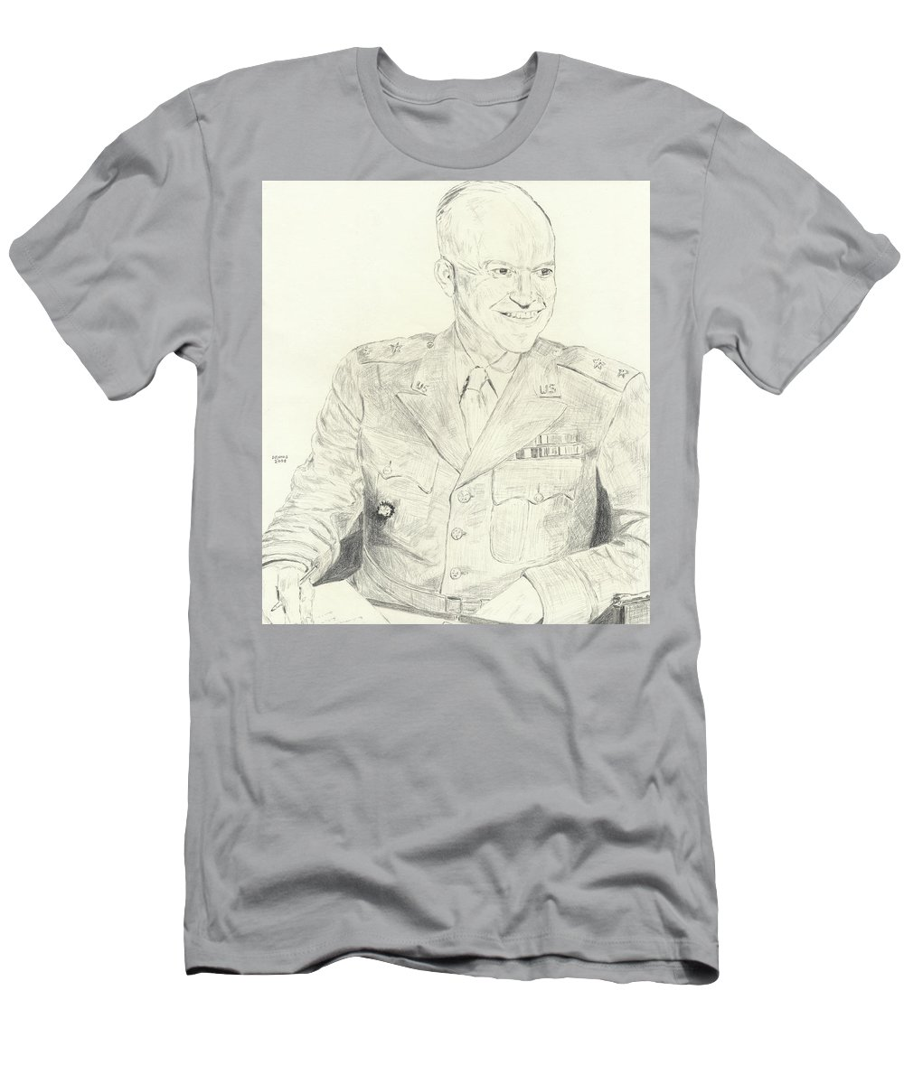 Eisenhower Men's T-Shirt (Athletic Fit) featuring the drawing Eisenhower by Dennis Larson