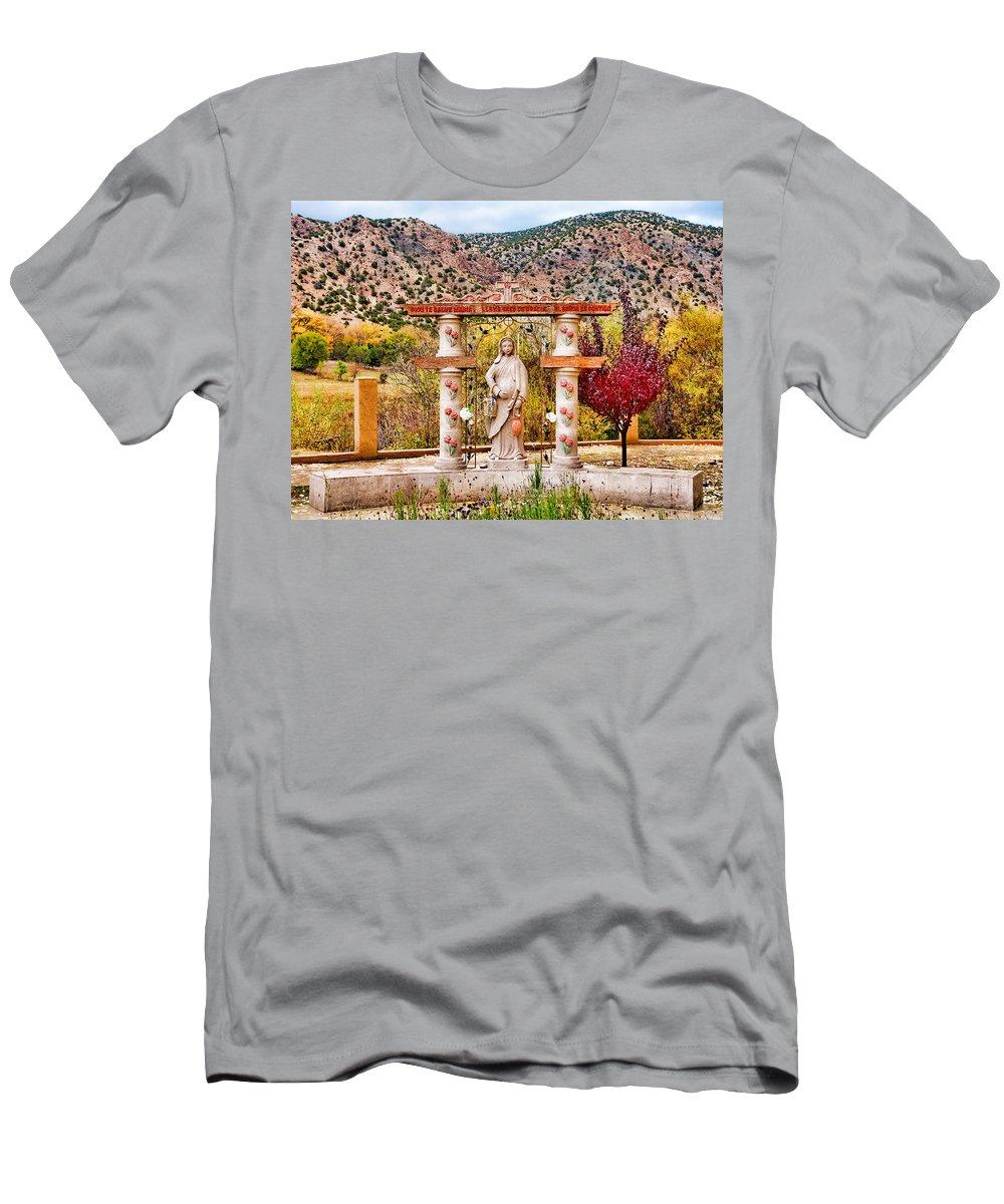 El Santuario De Chimayo Men's T-Shirt (Athletic Fit) featuring the photograph El Santuario De Chimayo Sculpture Garden 3 by Robert Meyers-Lussier