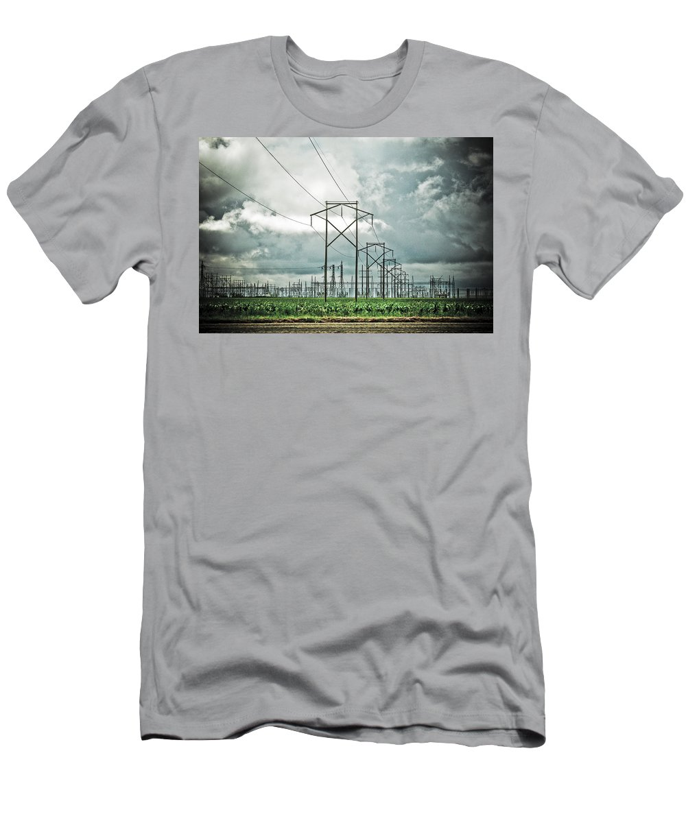 Electric Men's T-Shirt (Athletic Fit) featuring the photograph Electric Lines And Weather by Marilyn Hunt