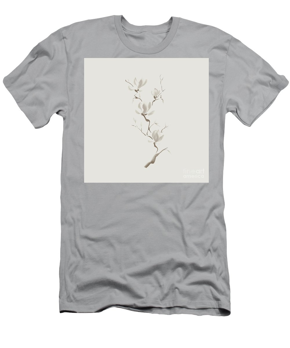 Flower Men's T-Shirt (Athletic Fit) featuring the mixed media Elegant Branch Of Magnolia Flowers Artistic Design On Light Ivor by Awen Fine Art Prints