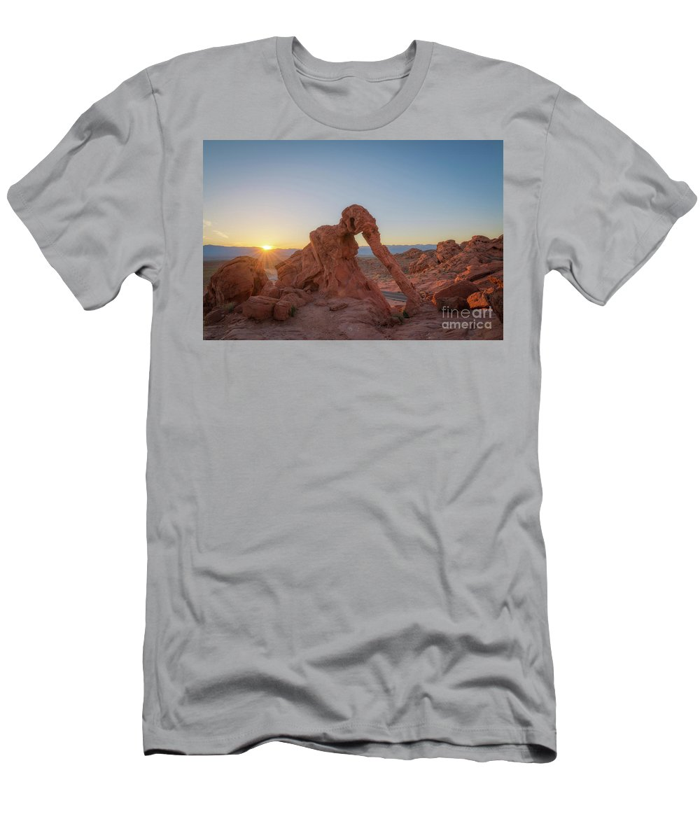 Elephant Rock Men's T-Shirt (Athletic Fit) featuring the photograph Elephant Rock Sunrise by Michael Ver Sprill