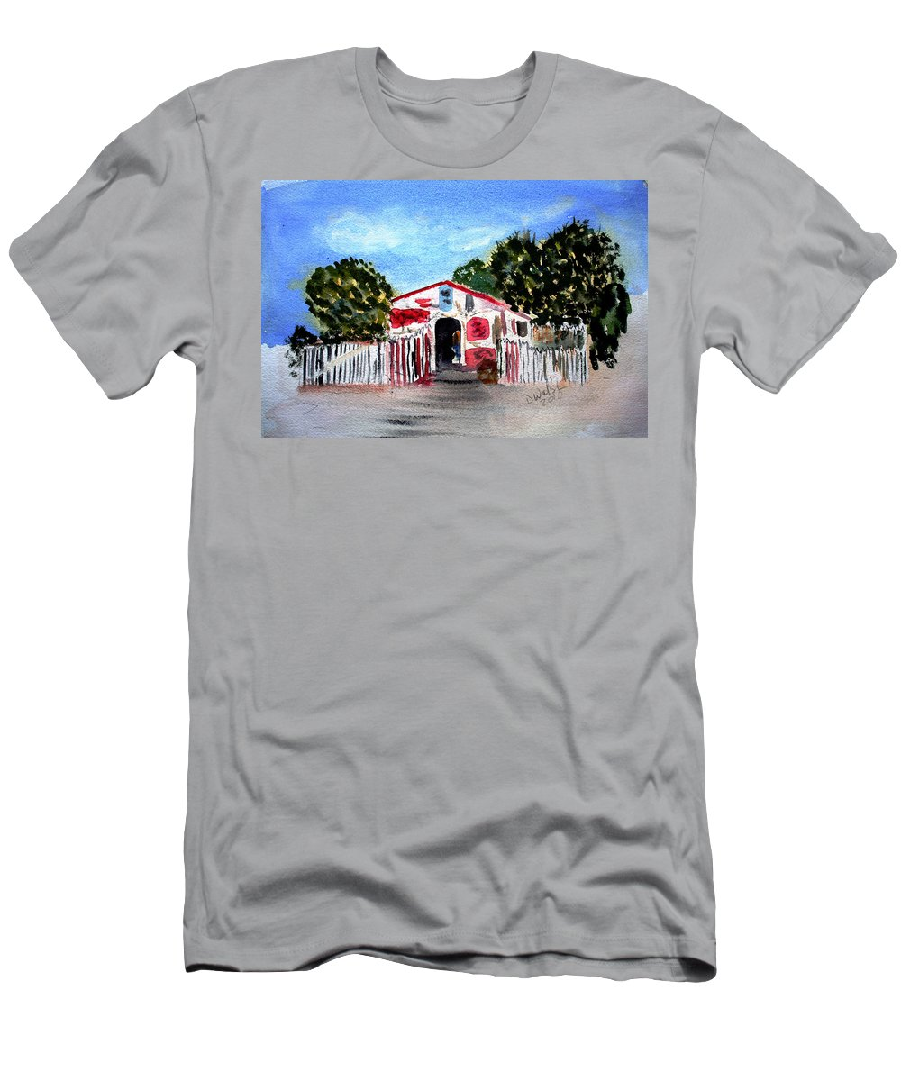 Tropical Men's T-Shirt (Athletic Fit) featuring the painting Emiles Road Side Grocer by Donna Walsh