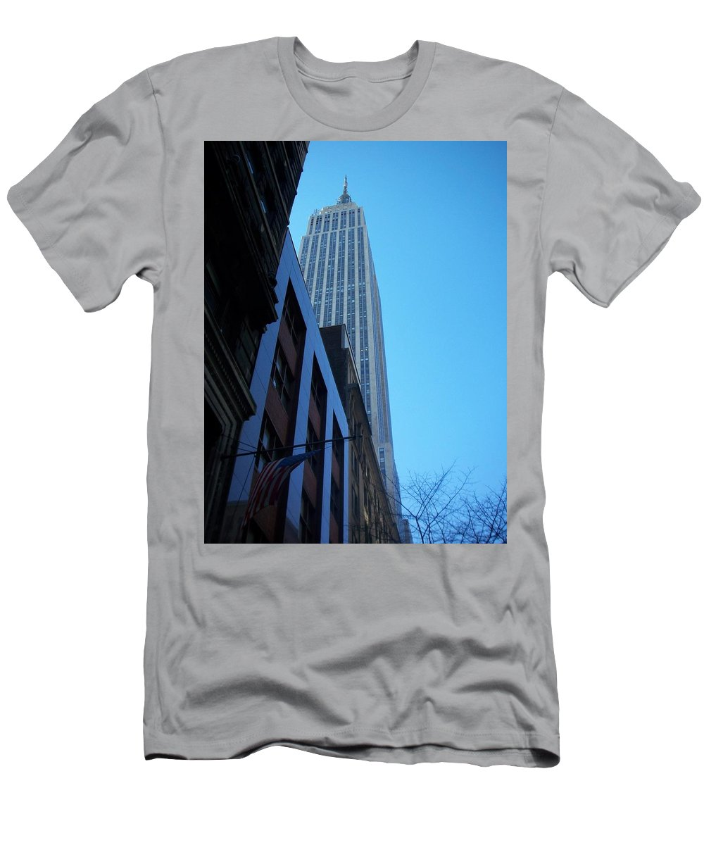 Emoire State Building Men's T-Shirt (Athletic Fit) featuring the photograph Empire State 1 by Anita Burgermeister