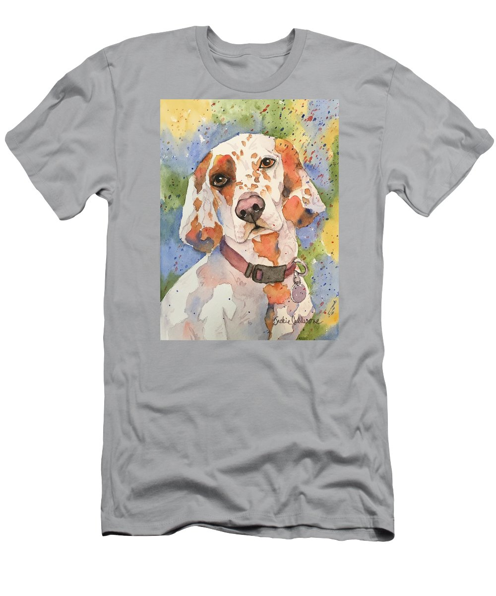 Watercolor Painting Men's T-Shirt (Athletic Fit) featuring the painting English Setter by Jackie Calderone