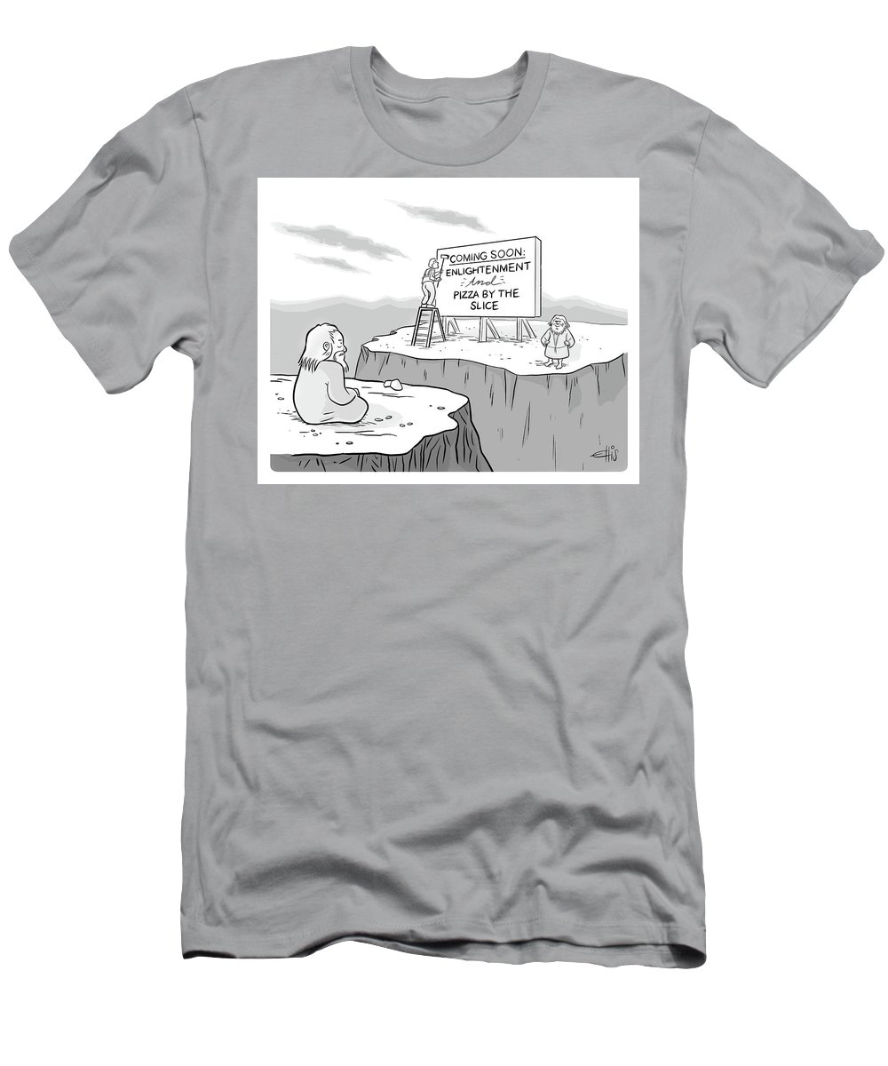 """""""coming Soon: Enlightenment And Pizza By The Slice"""" Men's T-Shirt (Athletic Fit) featuring the drawing Enlightenment And Pizza by Ellis Rosen"""