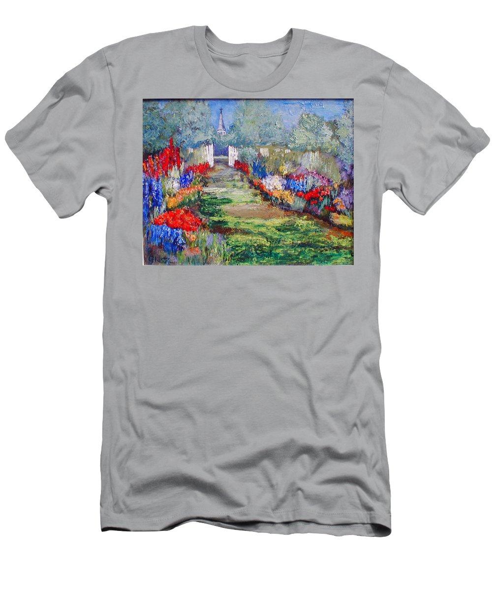Landscape Men's T-Shirt (Athletic Fit) featuring the painting Enter His Gates by Gail Kirtz