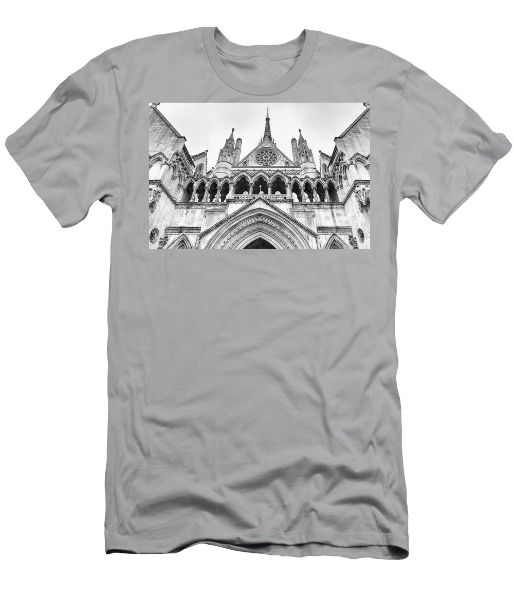 London Men's T-Shirt (Athletic Fit) featuring the photograph Entrance To Royal Courts Of Justice London by Shirley Mitchell