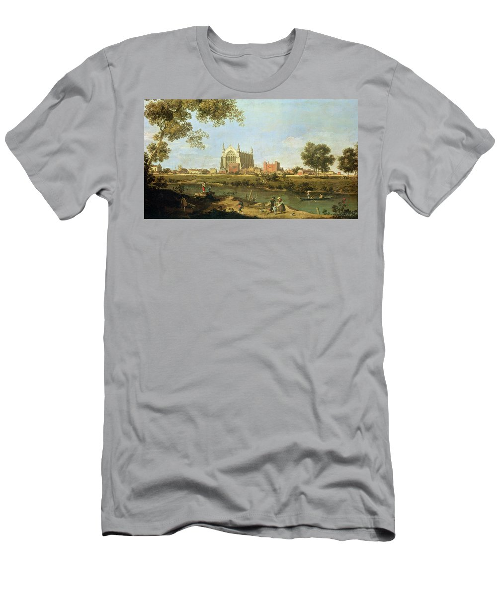 Eton Men's T-Shirt (Athletic Fit) featuring the painting Eton College by Canaletto
