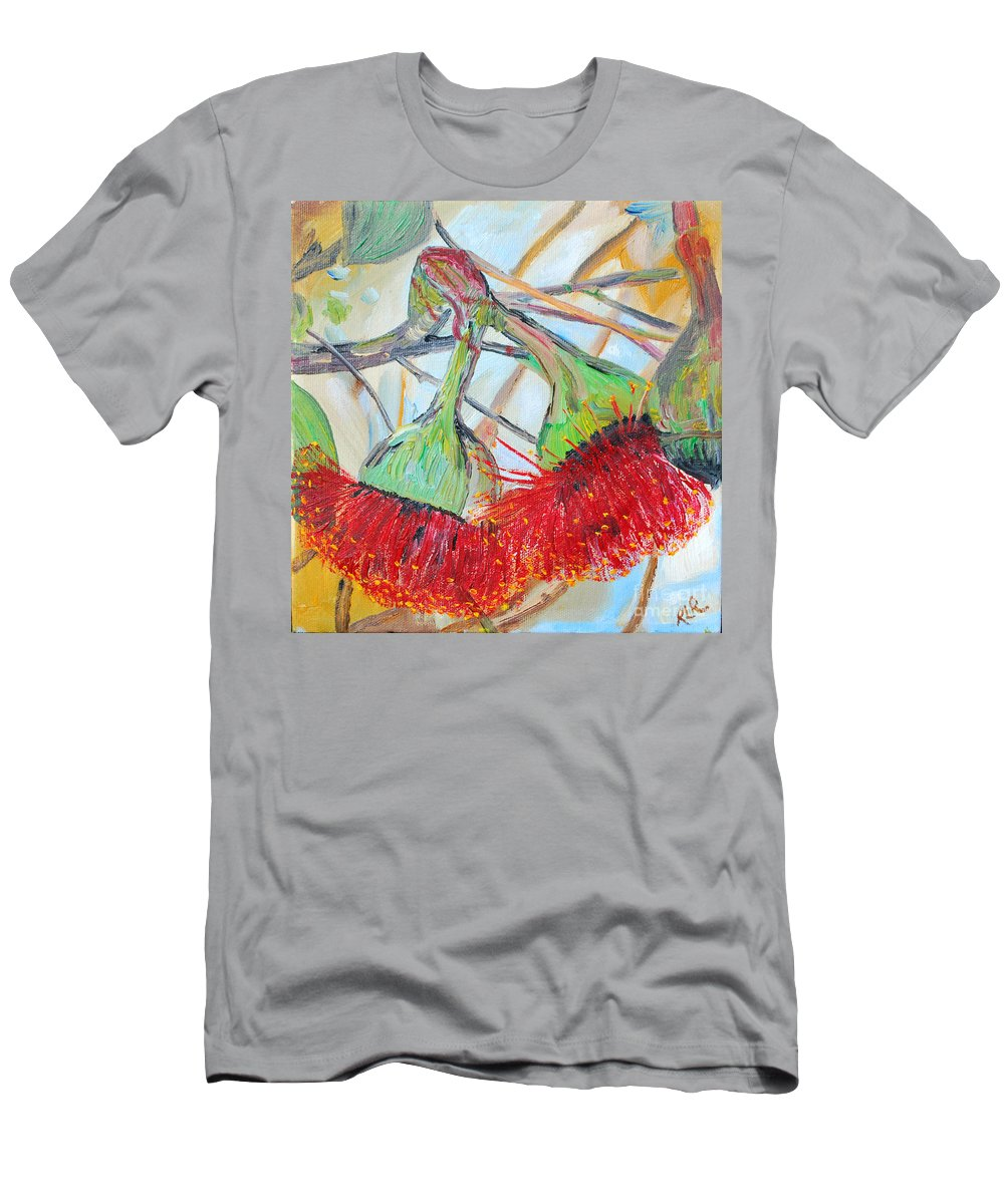 Flowers Men's T-Shirt (Athletic Fit) featuring the painting Eucalyptus Flowers by Reina Resto