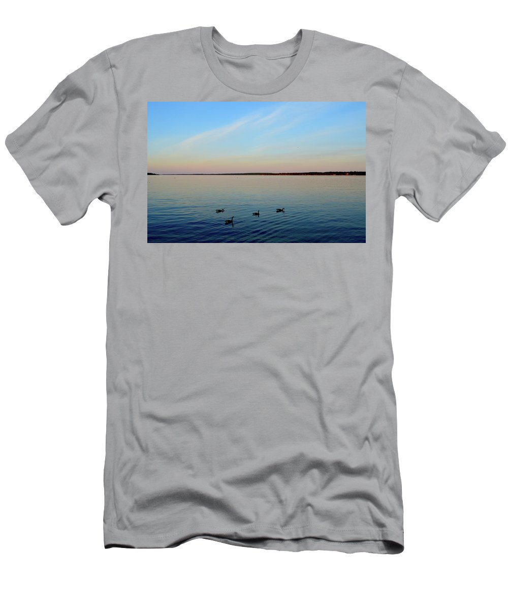 Summer Men's T-Shirt (Athletic Fit) featuring the photograph Evening Swimming Geese Three by Lyle Crump