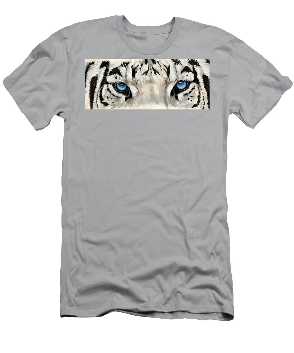 Big Cat T-Shirt featuring the painting Royal White Tiger Gaze by Barbara Keith