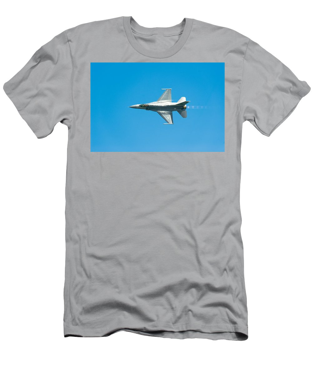 Major David Graham Men's T-Shirt (Athletic Fit) featuring the photograph F-16 Full Speed by Sebastian Musial