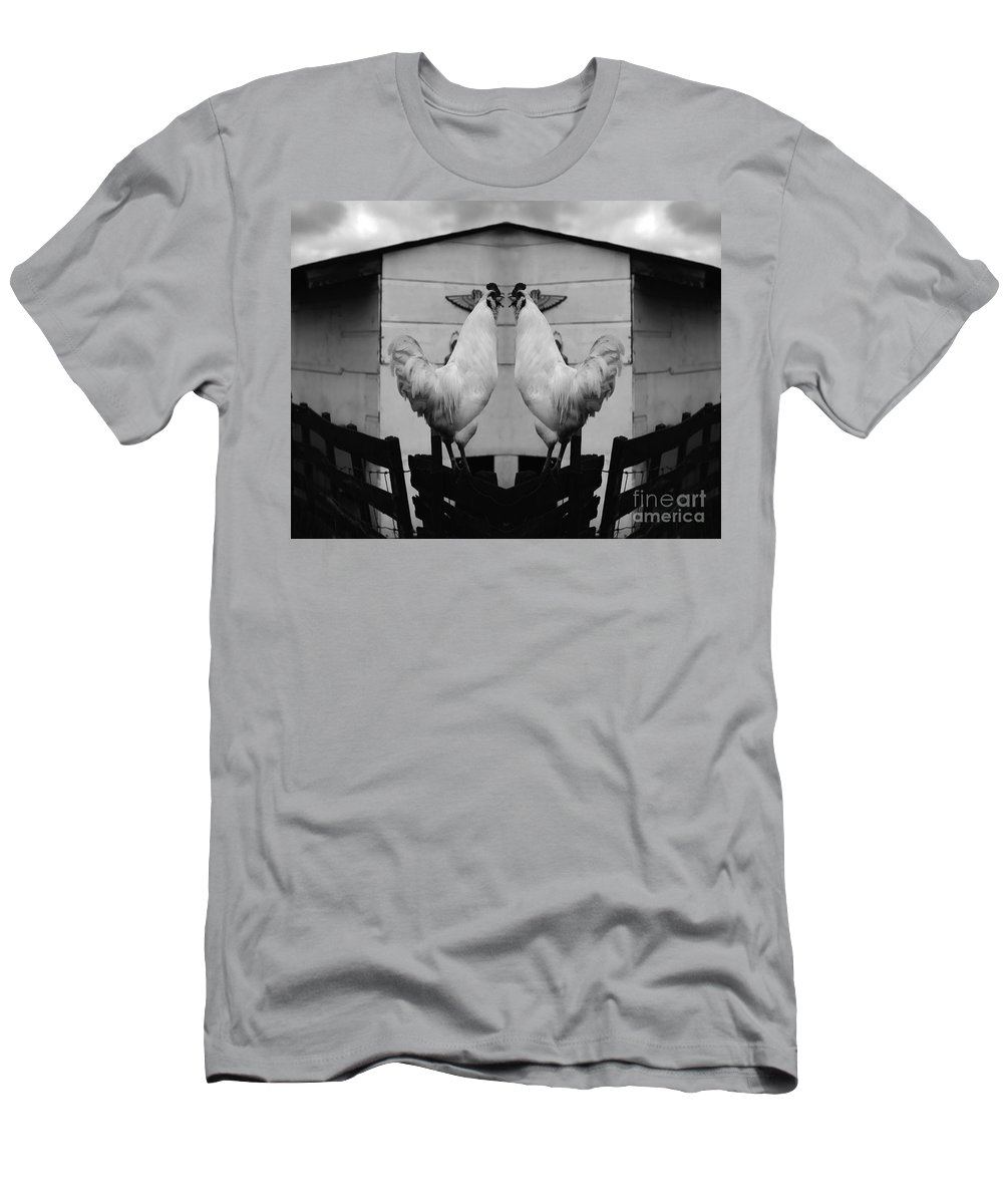 Rooster Men's T-Shirt (Athletic Fit) featuring the photograph Face Off by Peter Piatt
