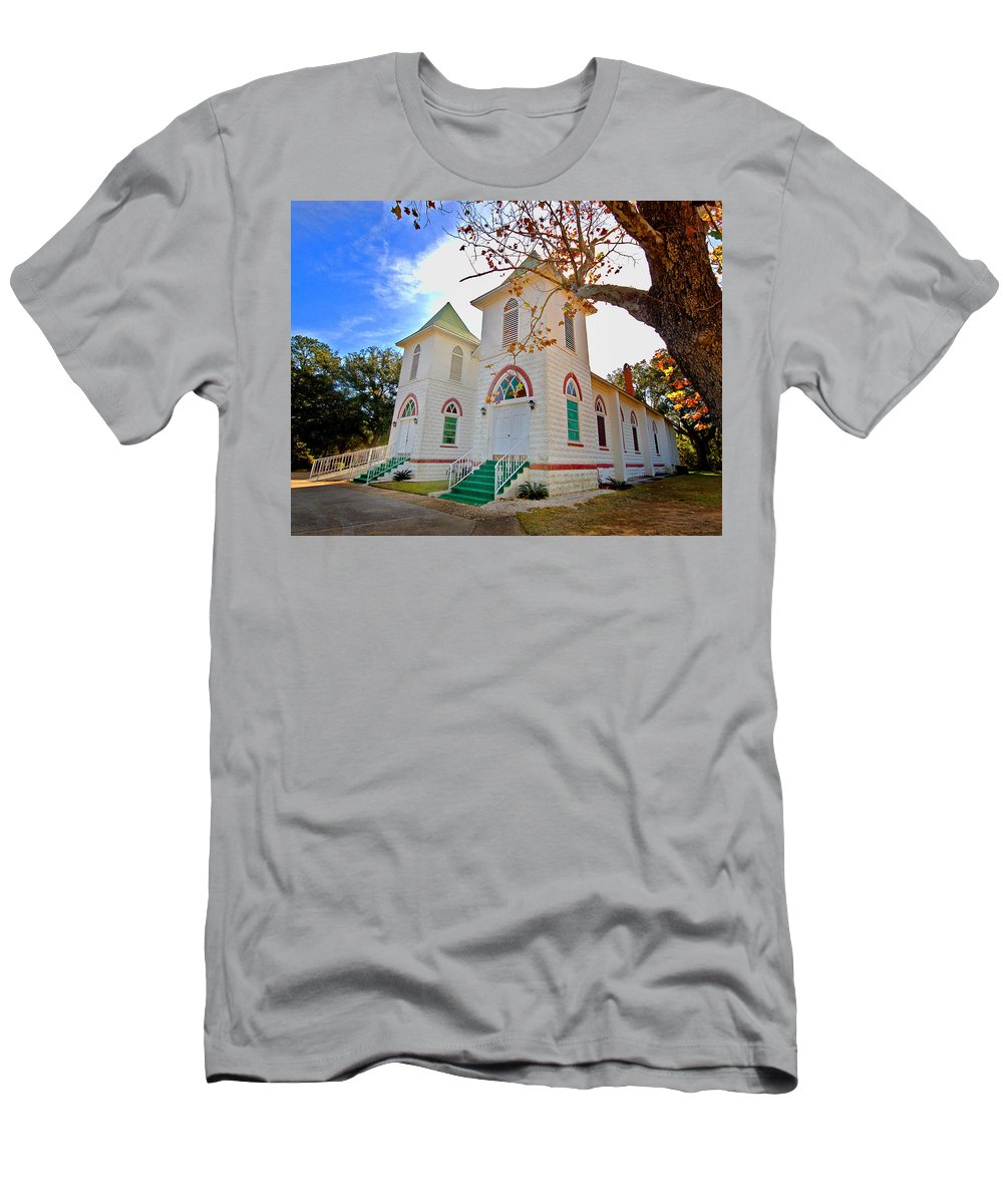 Church Men's T-Shirt (Athletic Fit) featuring the painting Fairhope Zion Church by Michael Thomas
