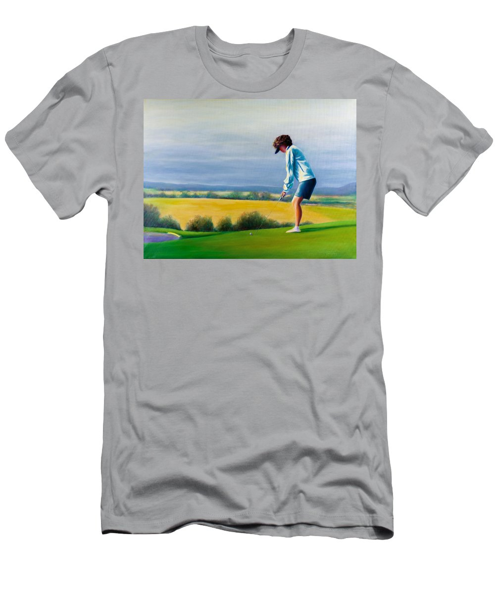 Golfer Men's T-Shirt (Athletic Fit) featuring the painting Fairy Golf Mother by Shannon Grissom
