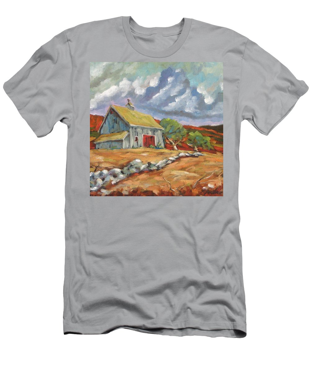 Farm Men's T-Shirt (Athletic Fit) featuring the painting Fall Scene by Richard T Pranke