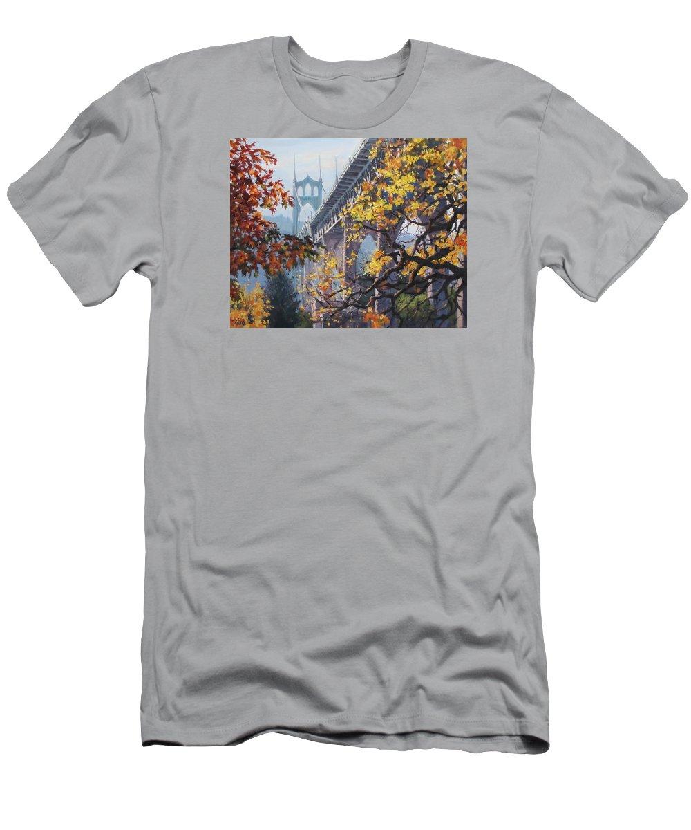 Portland T-Shirt featuring the painting Fall St Johns by Karen Ilari
