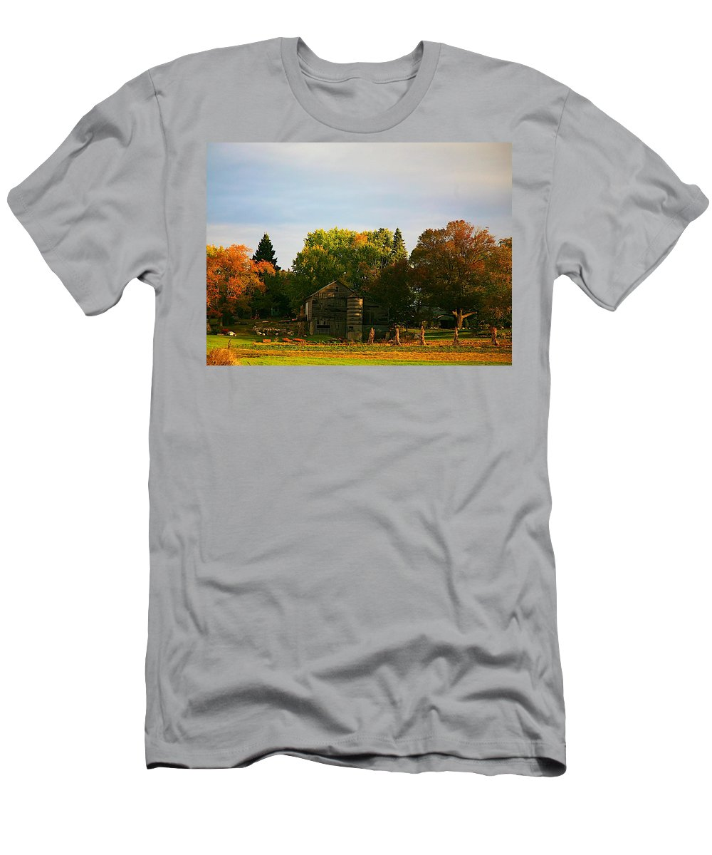 Farm Men's T-Shirt (Athletic Fit) featuring the photograph Fall Time On The Farm by Robert Pearson