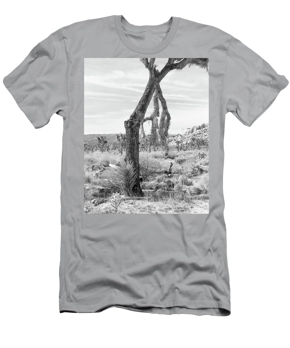 Joshua Tree Men's T-Shirt (Athletic Fit) featuring the photograph Falling Joshua Tree Branch by Alex Snay