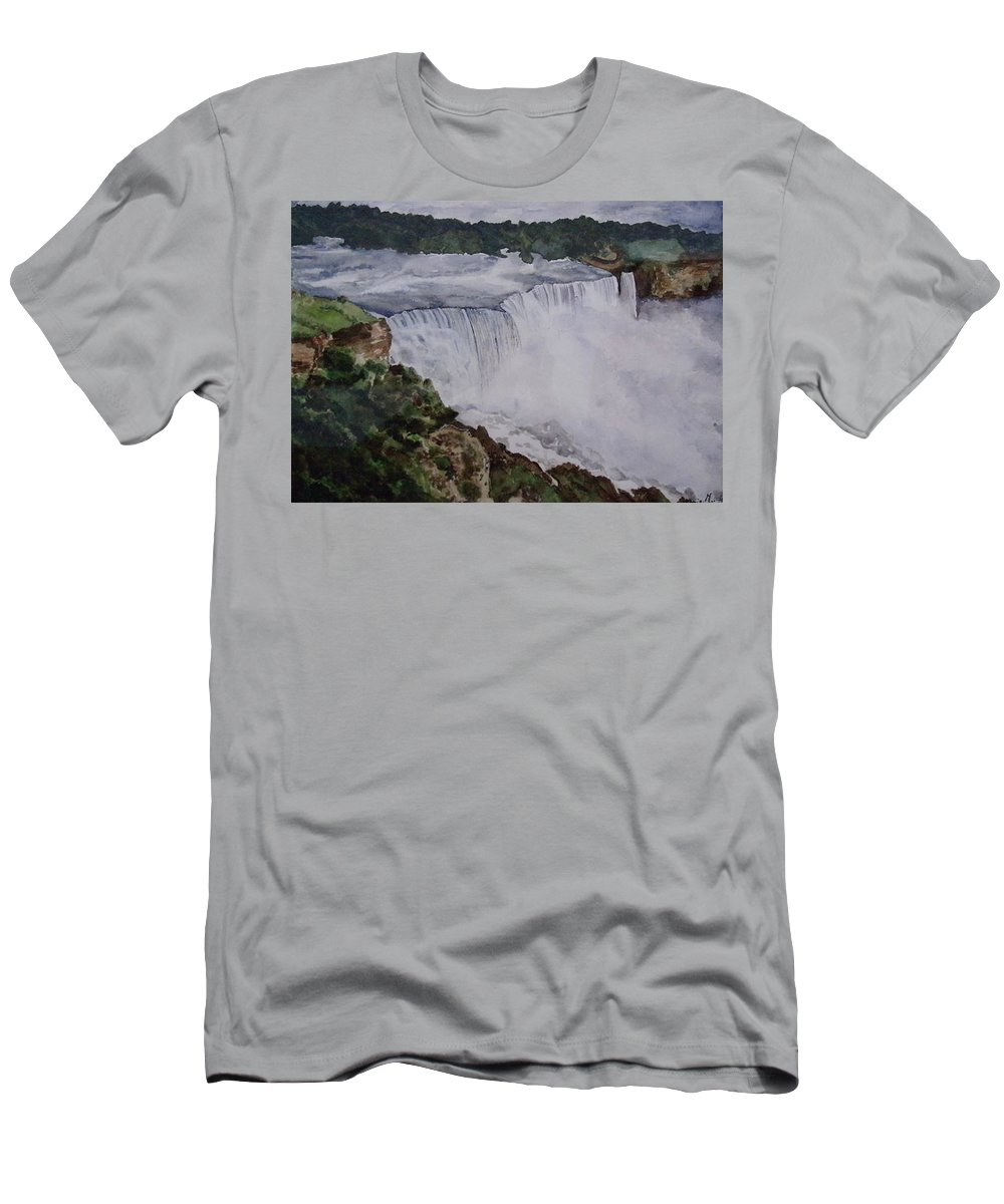 Water Falls Men's T-Shirt (Athletic Fit) featuring the painting Falls by Tanuja Munakala