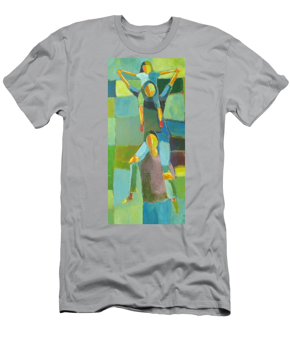 Abstract Men's T-Shirt (Athletic Fit) featuring the painting Family Joy by Habib Ayat