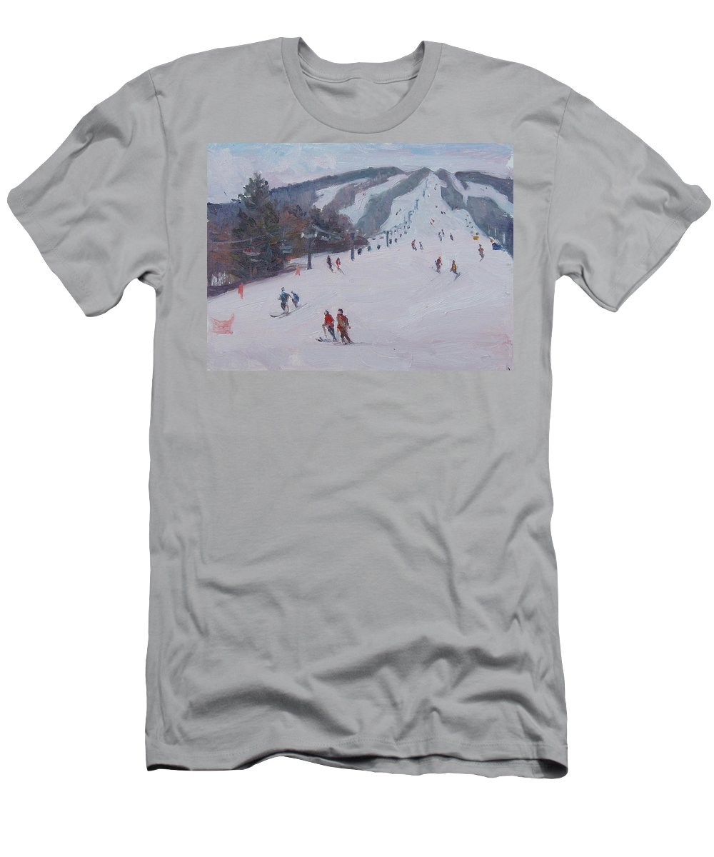 Landscape Men's T-Shirt (Athletic Fit) featuring the painting Family Ski by Dianne Panarelli Miller