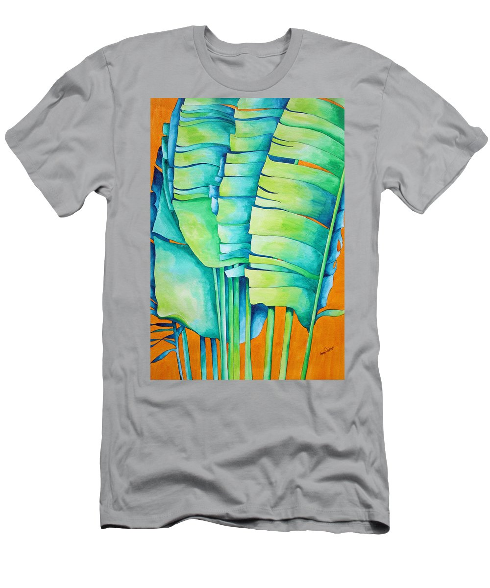 Fan Palm Men's T-Shirt (Athletic Fit) featuring the painting Fan Palm With Orange 2 by Helen Weston