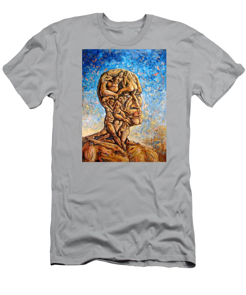 Surrealism Men's T-Shirt (Athletic Fit) featuring the painting Fantasies Of A 120 Years Old Man Struggling To Survive by Darwin Leon