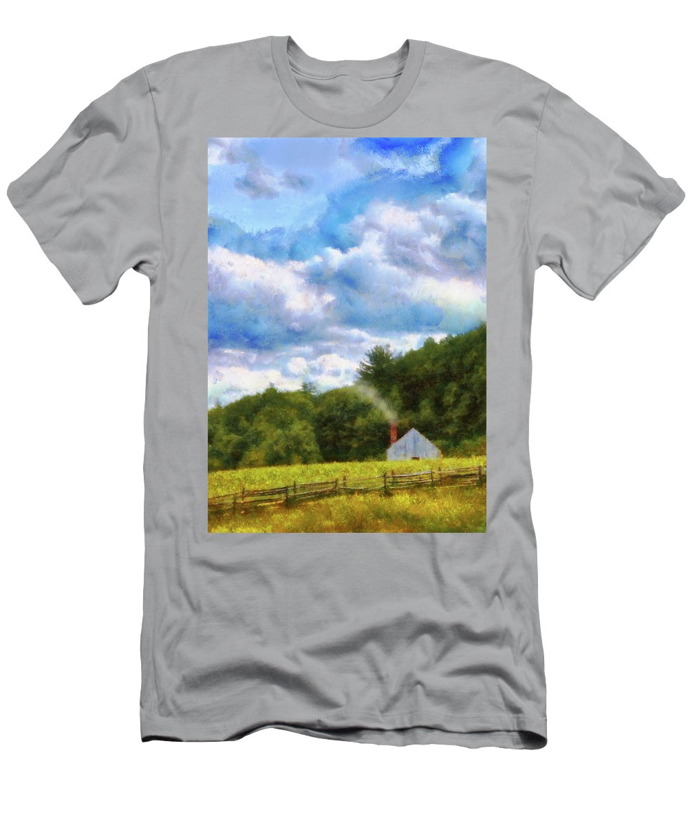 Suburbanscenes Men's T-Shirt (Athletic Fit) featuring the photograph Farm - Barn - Home On The Range II by Mike Savad