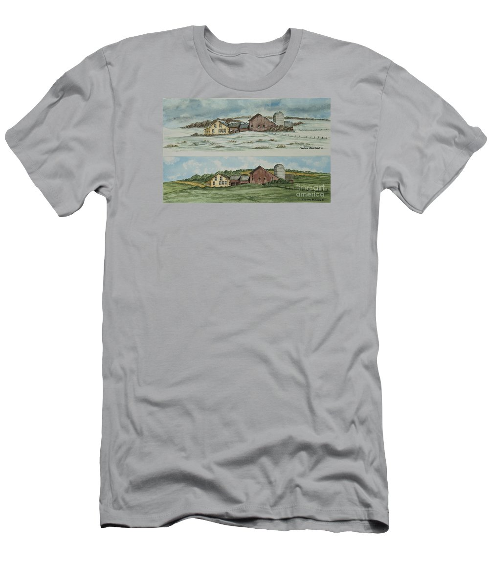 Winter Men's T-Shirt (Athletic Fit) featuring the painting Farm Of Seasons by Charlotte Blanchard