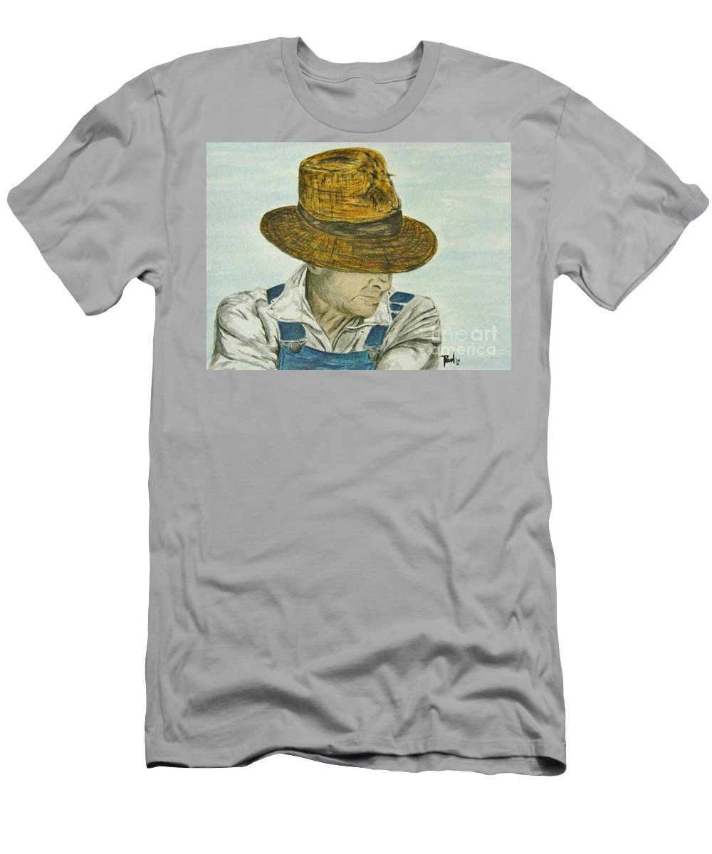 Portrait T-Shirt featuring the painting Farmer Ted by Regan J Smith