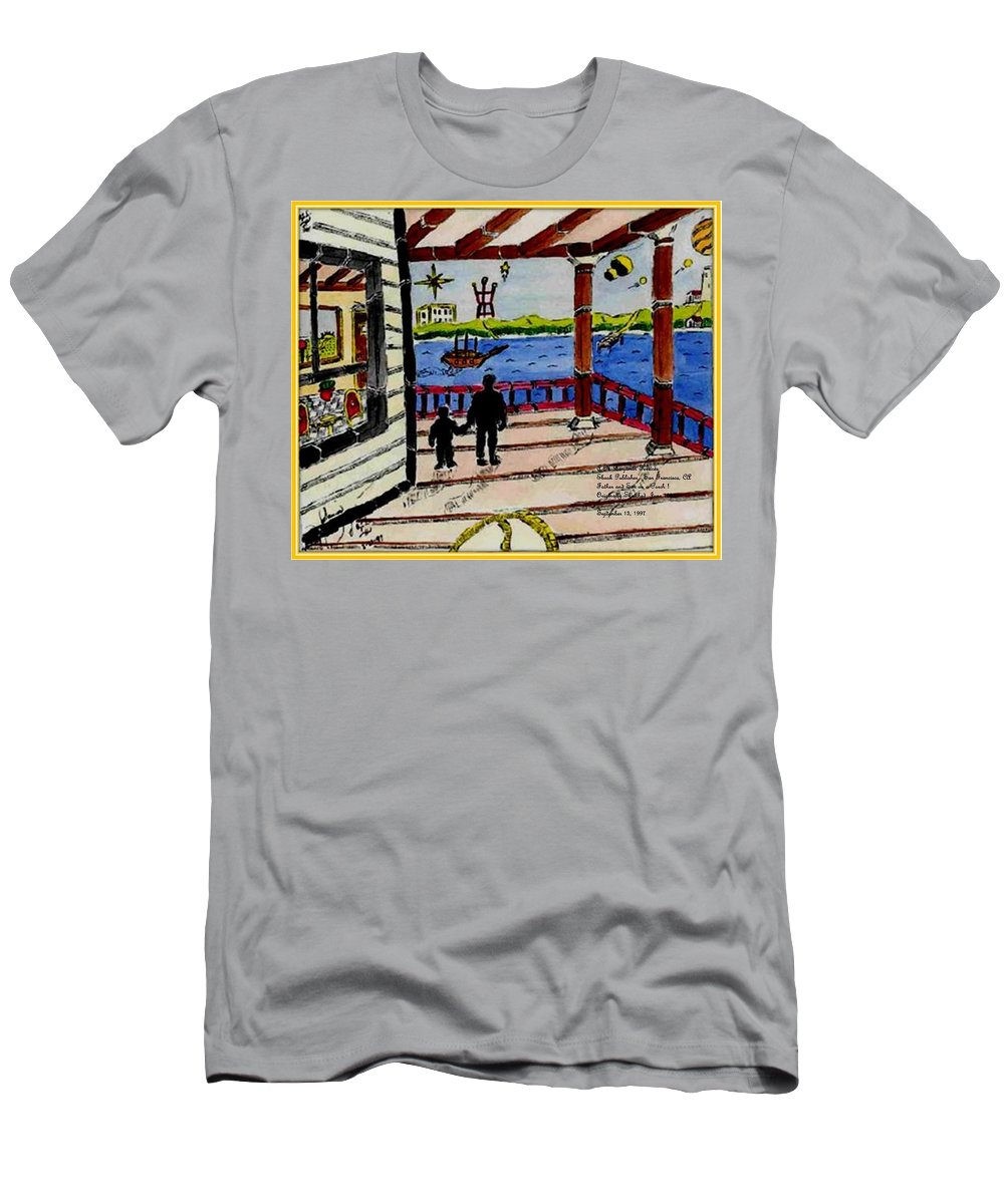 Boy Men's T-Shirt (Athletic Fit) featuring the painting Father And Son On The Porch by Anthony Benjamin