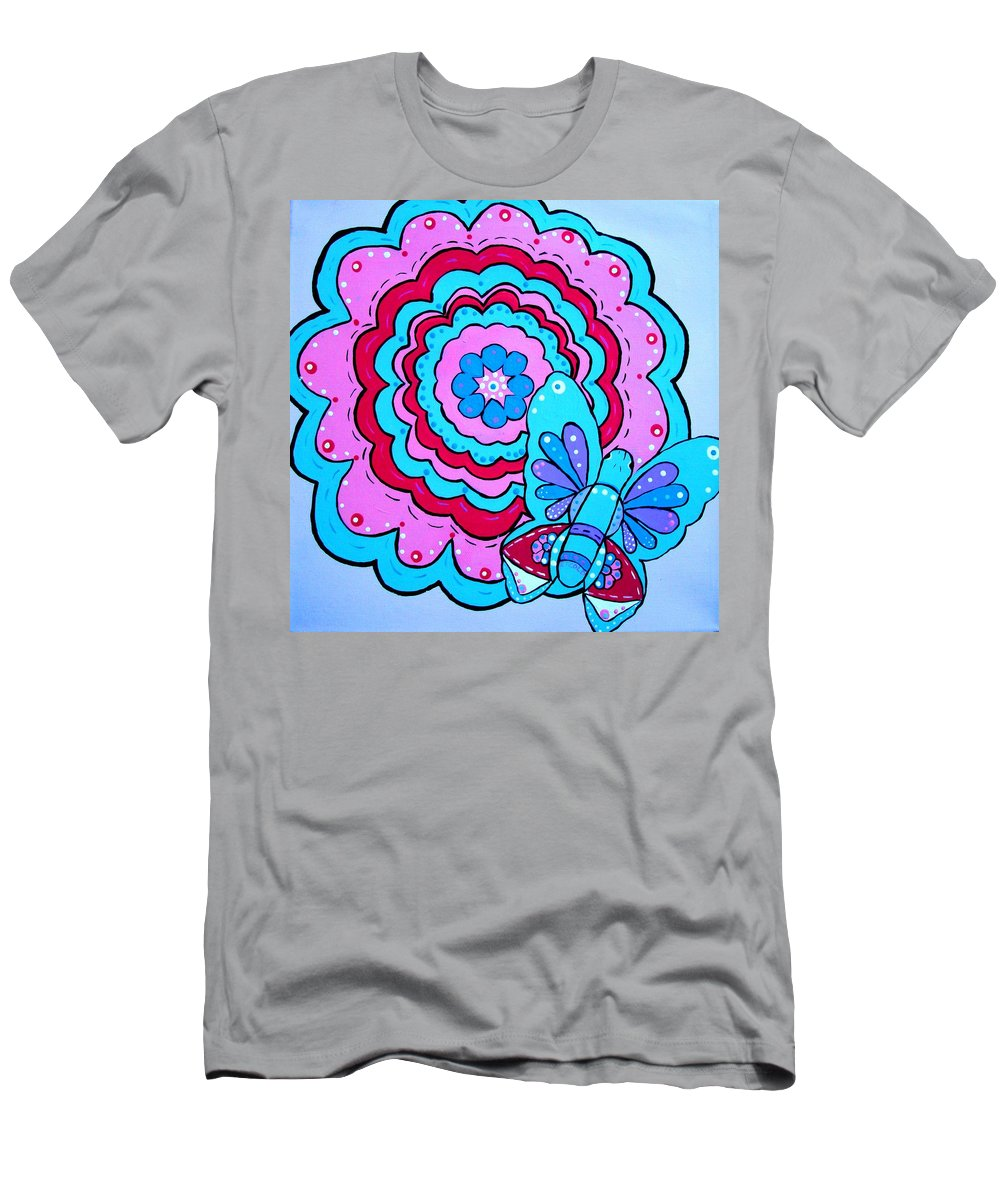 Flower Men's T-Shirt (Athletic Fit) featuring the painting Felicity's Flower by Melinda Etzold