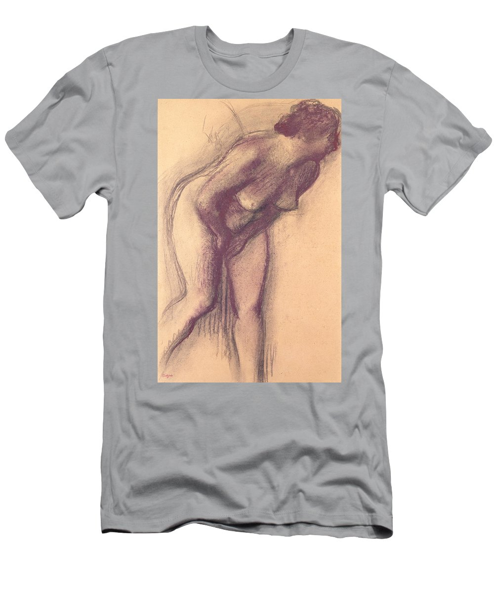 Female Standing Nude (charcoal And Pastel) By Edgar Degas (1834-1917) Men's T-Shirt (Athletic Fit) featuring the pastel Female Standing Nude by Edgar Degas