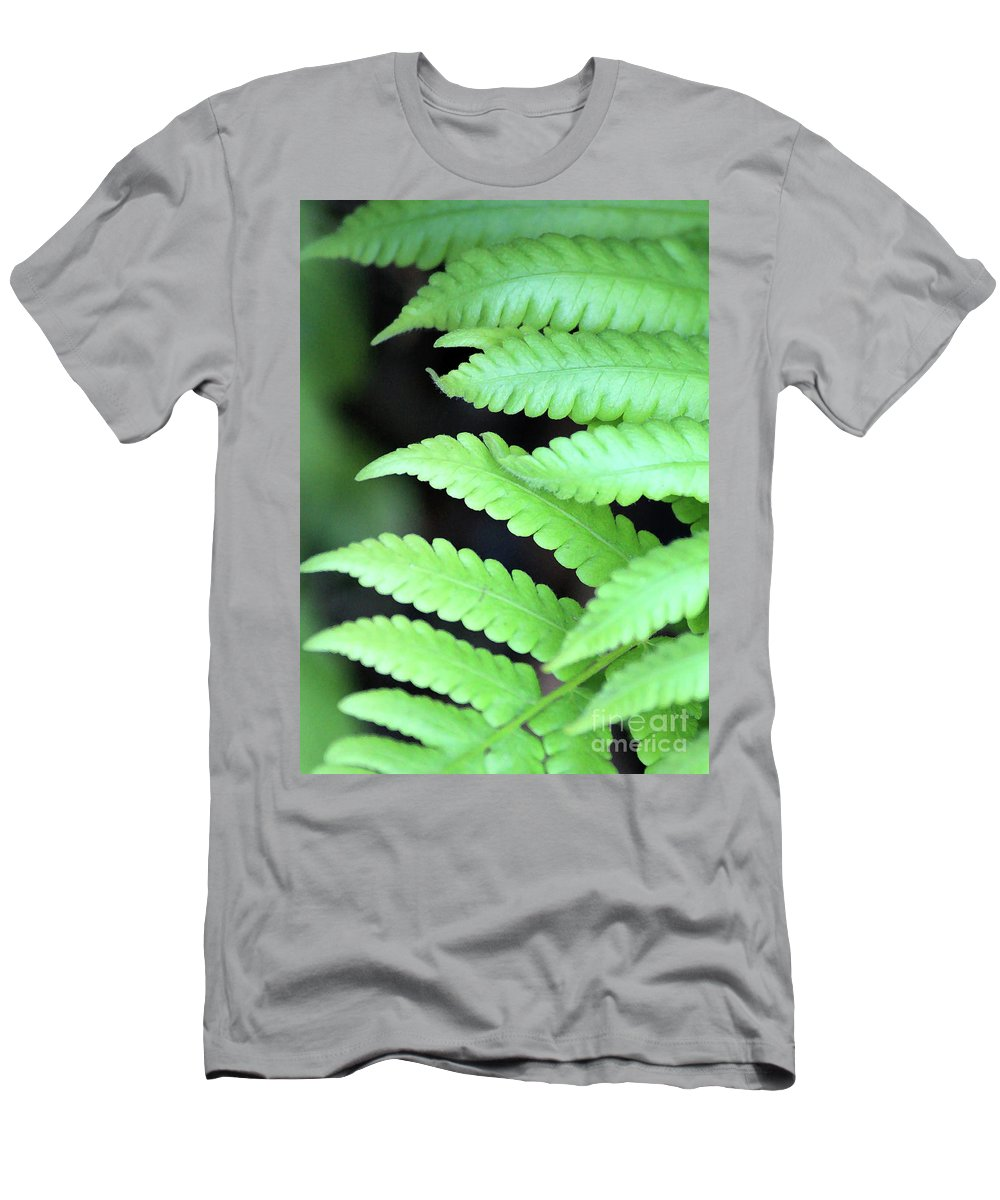 Ferns Men's T-Shirt (Athletic Fit) featuring the photograph Fern Tips - Digital Painting by Carol Groenen