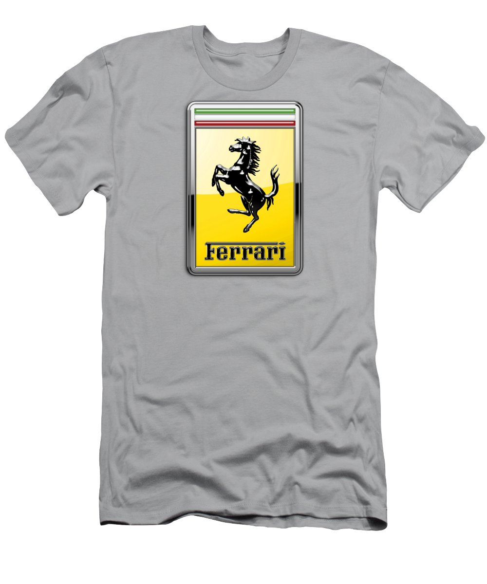 �auto Badges� Collection By Serge Averbukh T-Shirt featuring the photograph Ferrari 3D Badge- Hood Ornament on Yellow by Serge Averbukh