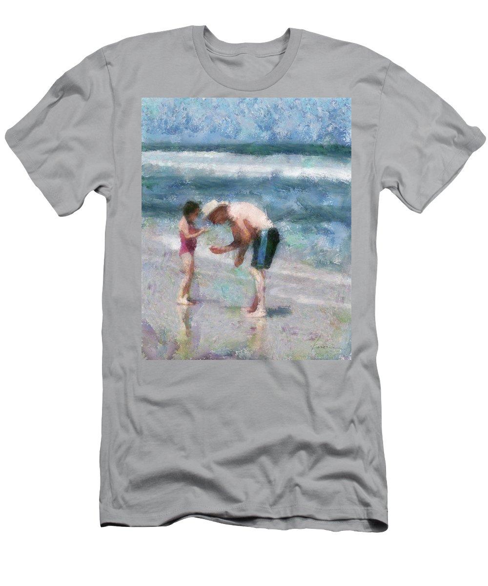 Grandpa Men's T-Shirt (Athletic Fit) featuring the digital art Finding Seashells by Francesa Miller
