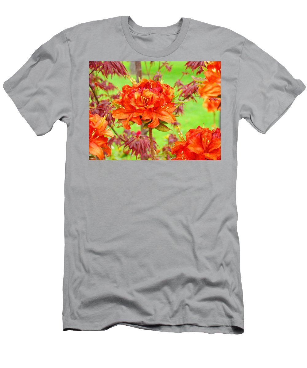 Rhodie Men's T-Shirt (Athletic Fit) featuring the photograph Fine Art Floral Art Prints Canvas Orange Rhodies Baslee Troutman by Baslee Troutman