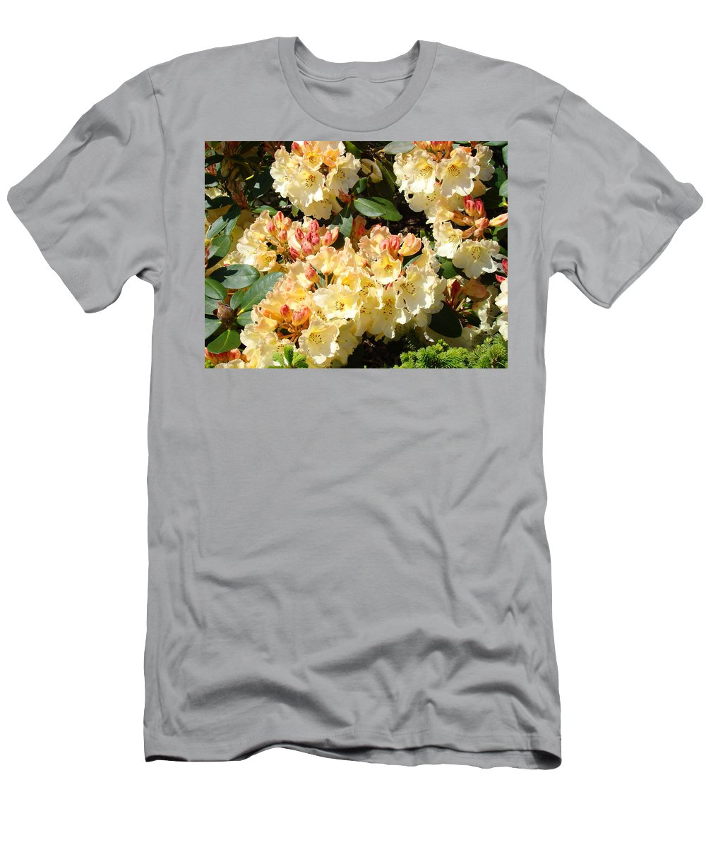 Rhodie Men's T-Shirt (Athletic Fit) featuring the photograph Fine Art Prints Rhodies Floral Canvas Yellow Rhododendrons Baslee Troutman by Baslee Troutman