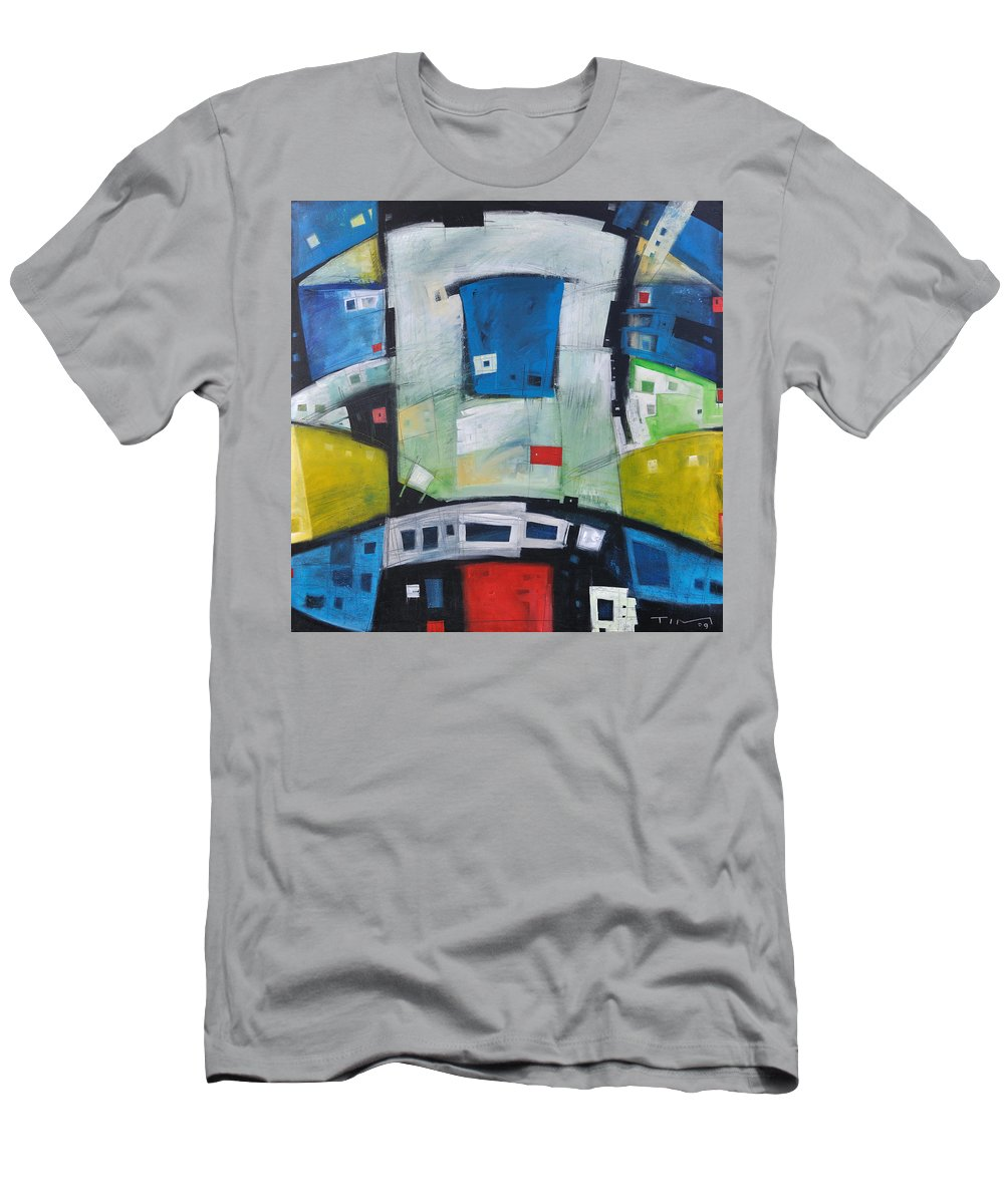Abstract Men's T-Shirt (Athletic Fit) featuring the painting Fire In The Belly by Tim Nyberg