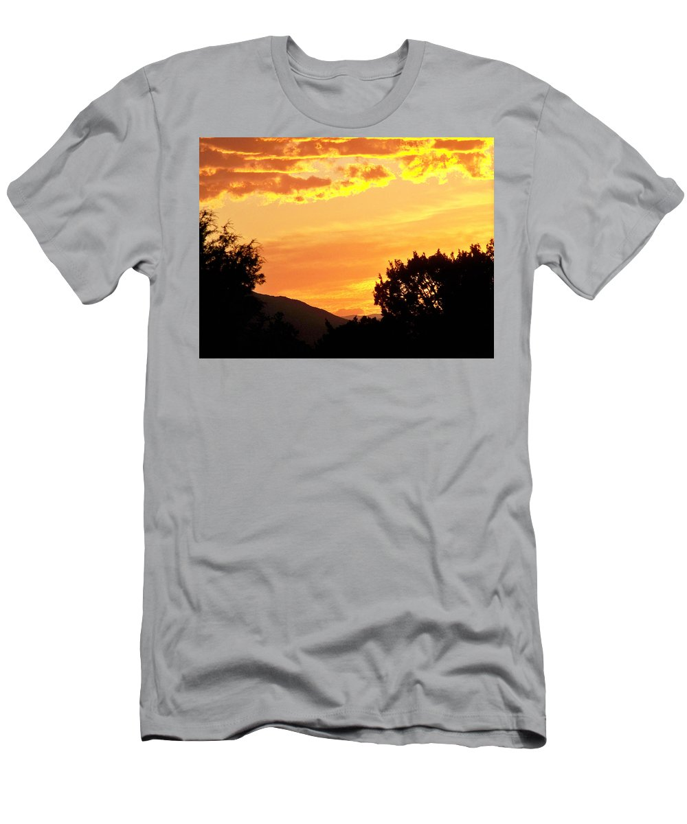 Landscape Men's T-Shirt (Athletic Fit) featuring the photograph Fire In The Sky 1 by Brian Commerford