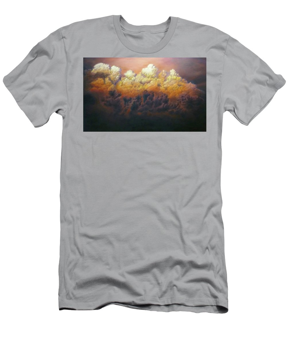 Landscape Men's T-Shirt (Athletic Fit) featuring the painting Fire In The Sky by Dan Wheeler