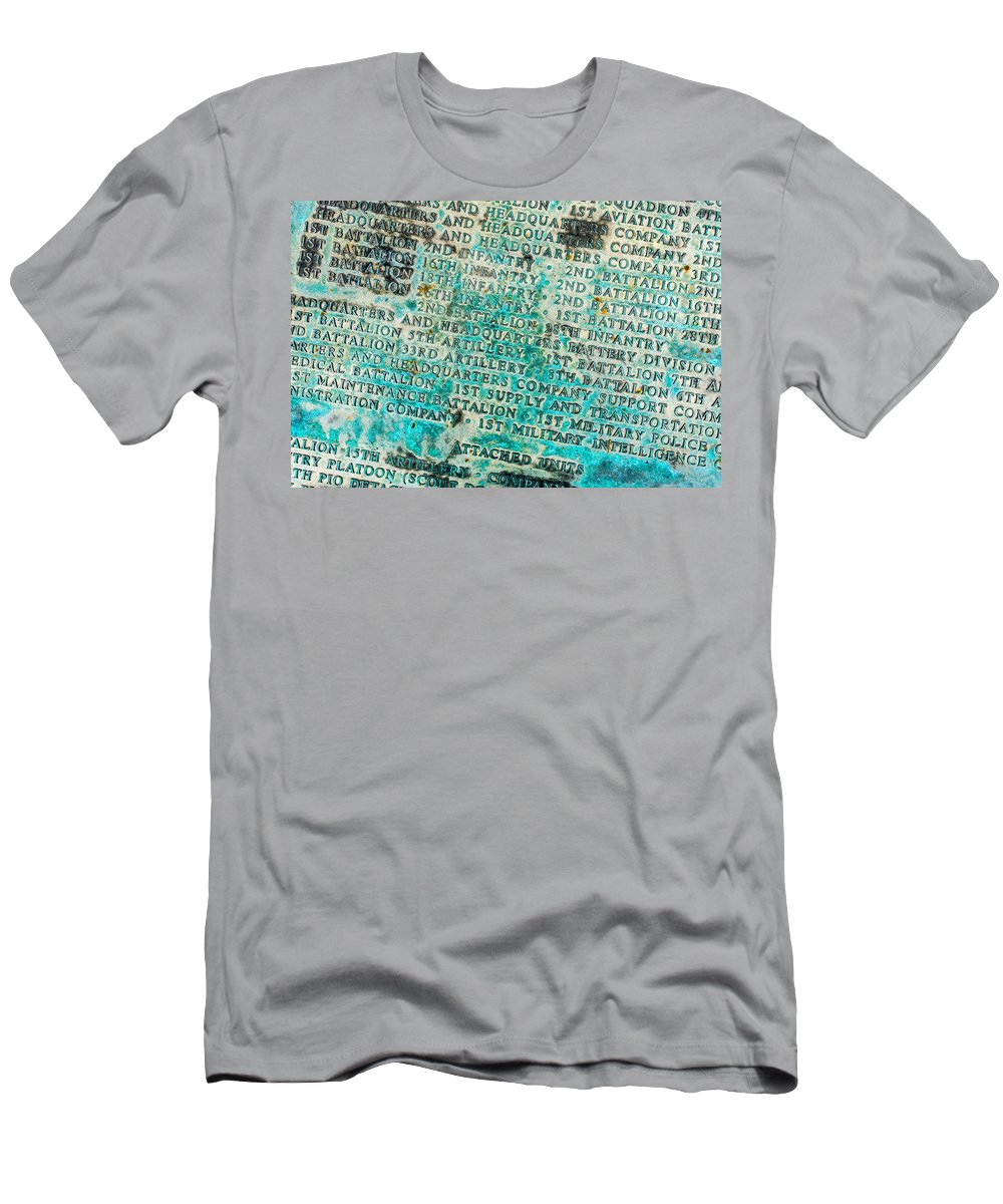 1id Men's T-Shirt (Athletic Fit) featuring the photograph First Infantry Division Memorial Plaque by SR Green