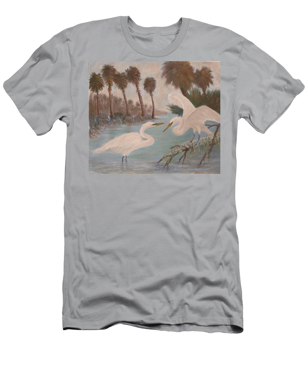 Egret Men's T-Shirt (Athletic Fit) featuring the painting First Meeting by Ben Kiger